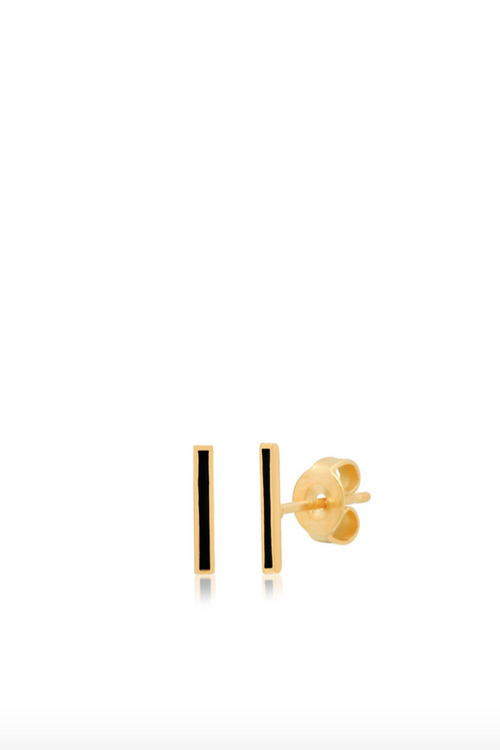 Tai, Gold + Black Enamel Stick Earrings