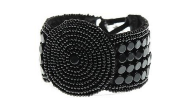 Sidai Black Beaded Leather Bracelet