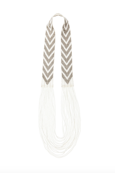 Sidai, Grey and White Chevron Beaded Necklace