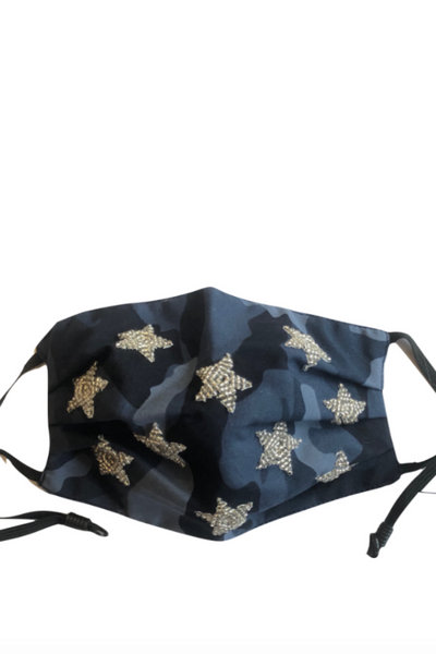 Mask, Camo with Silver Stars