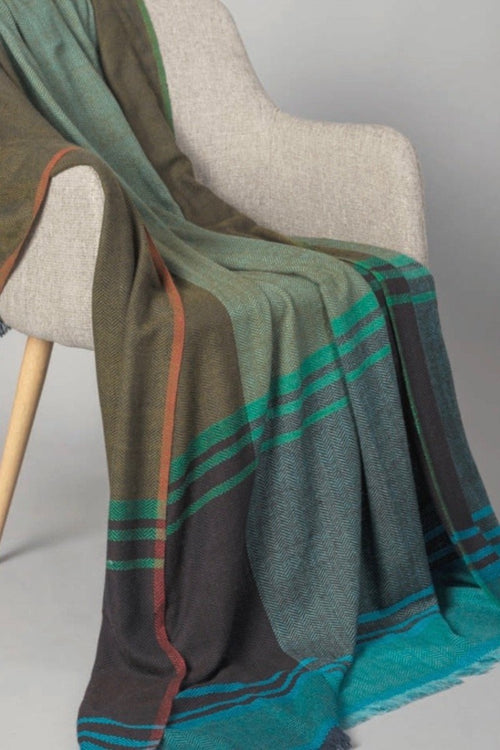Sadhu-Cashmere Throw-Green/Turquoise/Purple