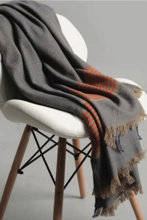 Sadhu- 100% Cashmere Throw- Blue/Orange/Taupe Stripe