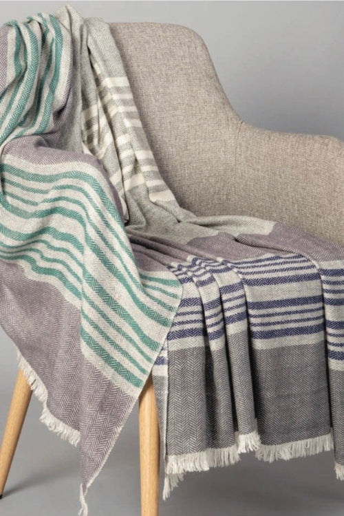 Sadhu, Cashmere Throw -Grey/Ivory/Green