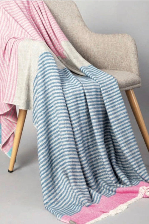Sadhu, Cashmere Throw-Blue/Pink/Grey
