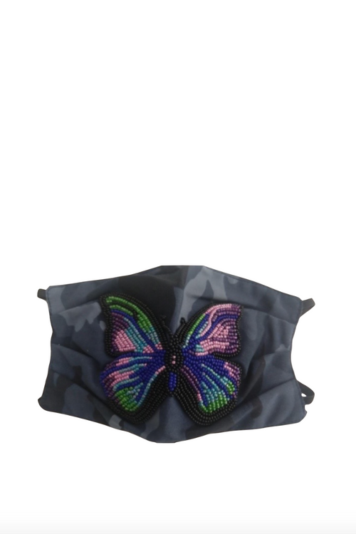 Mask, Navy Camo with Butterfly