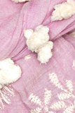Dupatta, Embroidered with Cream Pom Poms
