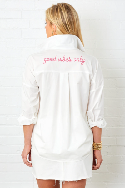 """Good Vibes Only"" Cotton Shirt"