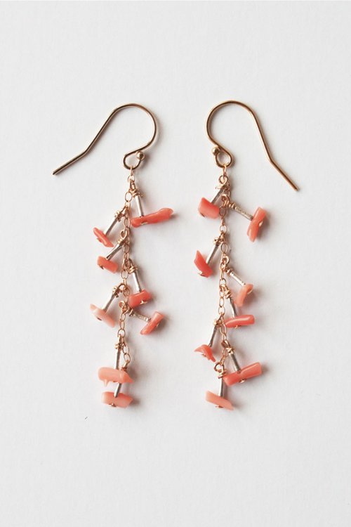 Mila Coral Earrings - Short