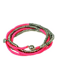 Serafina Silver Heisha Wrap with Magnetic Closure NEON PINK