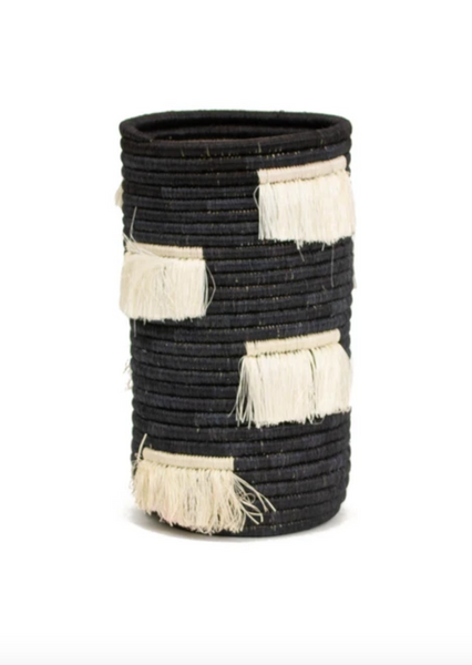 Vase - Fringed, Black