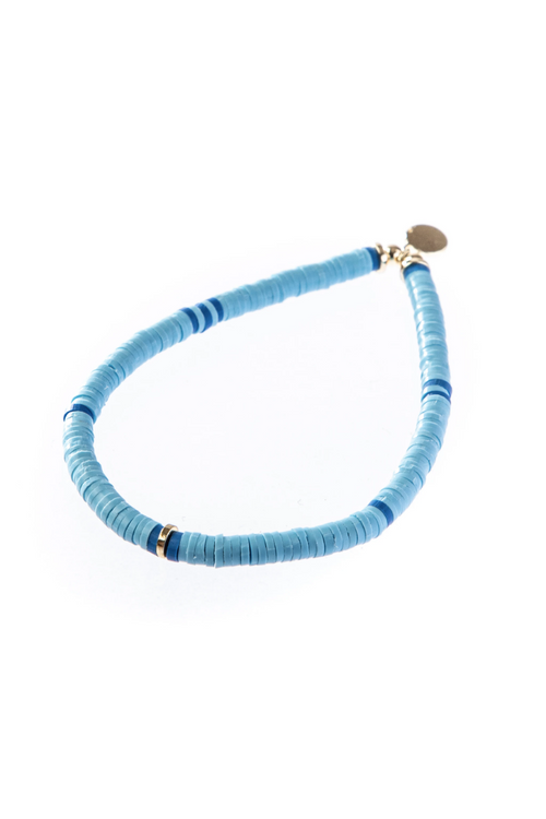 C.L., Skinny Disc Light Blue Bracelet