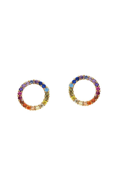 Tai, Gold Open Circle with Rainbow Earrings