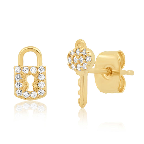 Tai, Pave Lock & Key Stud Earrings