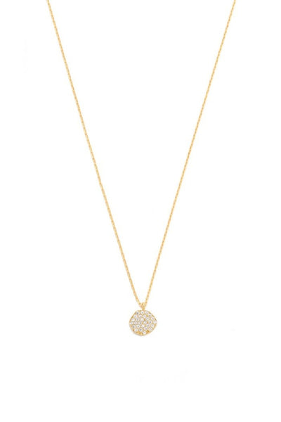 Tai, Gold Chain Necklace with CZ Disk