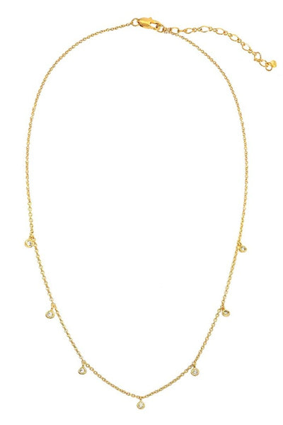 Tai, Gold Chain Necklace with 7 CZ Charms