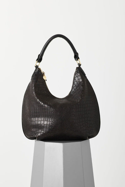 Draco Black Croc Hobo Bag