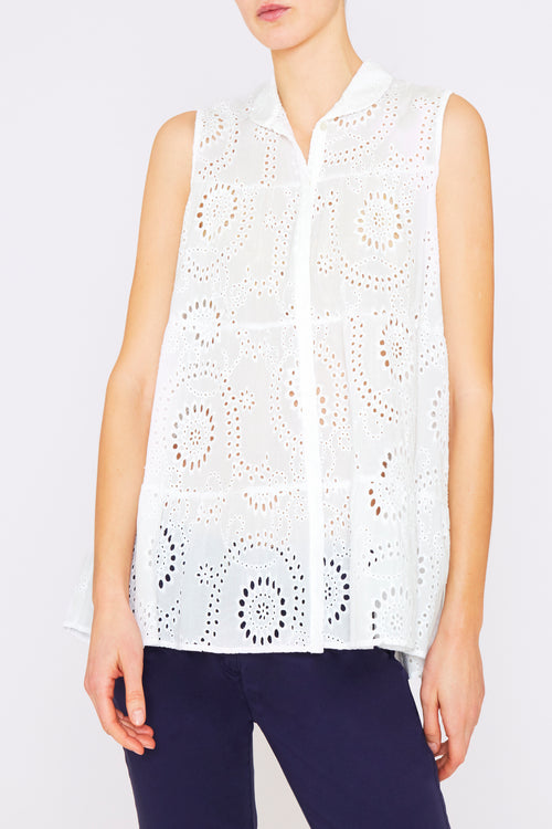 0039 Italy Arian White Eyelet Sleeveless Blouse