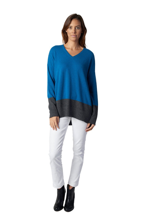 Boyfriend Sweater - V-Neck Colour Block