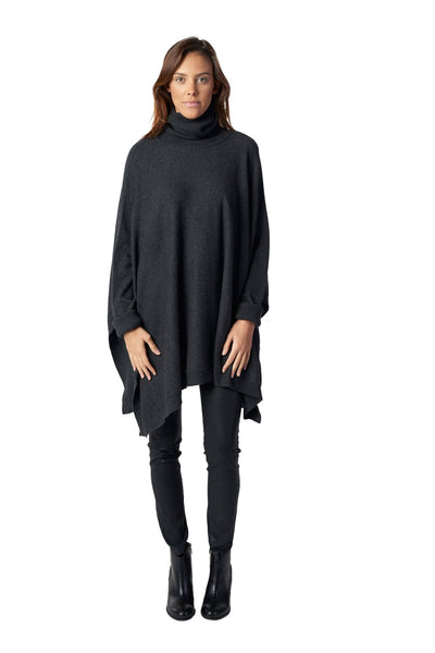 Cashmere T Neck Swing Poncho