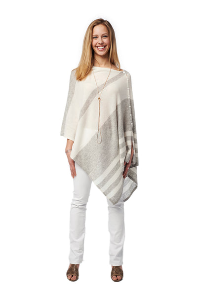 Cashmere Button Poncho - Striped