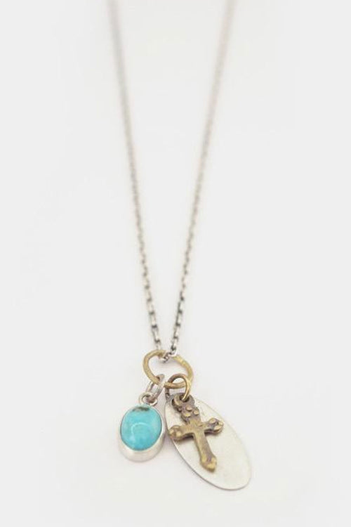 Cooperative de Creation, Maisie Turquoise & Cross Necklace