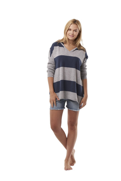 Over-Sized Striped Cashmere Hoodie