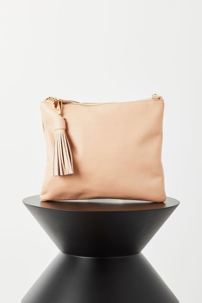 Jem Nude Bubble Leather Clutch