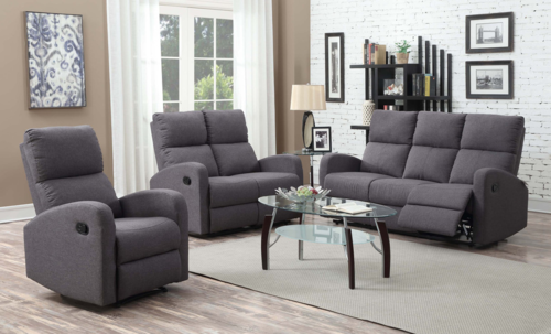Motion Loveseat Florence Collection-9064SGY-2