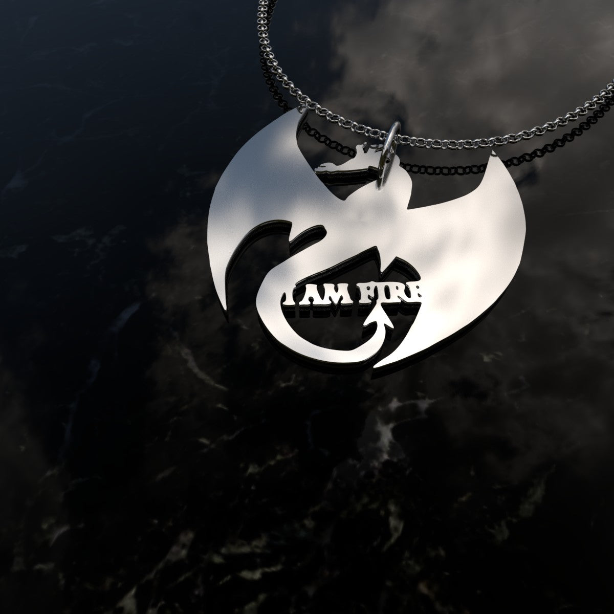 "If you love Dragons and Sterling Silver then you've come to just the place! This beautiful elegant Sterling Silver Fire Dragon Pendant with the quote ""I AM Fire"" is made especially for you. A great reminder fo the Fire within!"