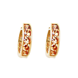 GOLDEN PAVE ETERNITY HOOPS