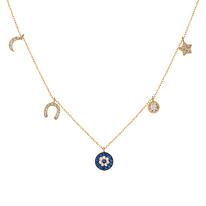 SEE NO EVIL CHARM NECKLACE, GOLD