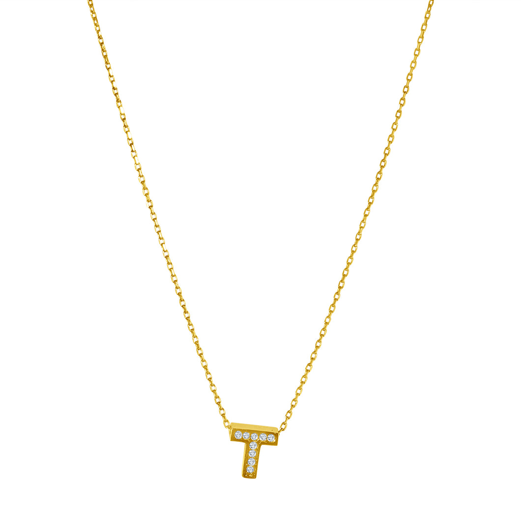 PAVÉ GOLD INITIAL NECKLACE/ T