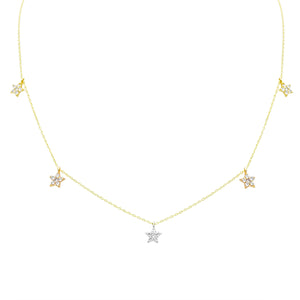 TWINKLE TWINKLE CHOKER CHARM NECKLACE YELLOW, WHITE & ROSE GOLD