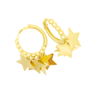 Shimmering Multi Gold Star Sleeper Hoops