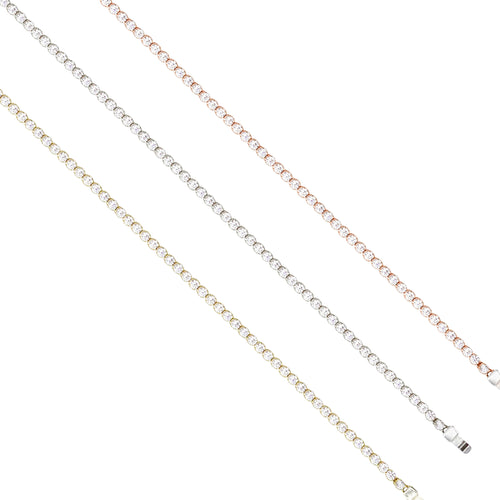 White, Yellow & Rose Gold Tennis Bracelets