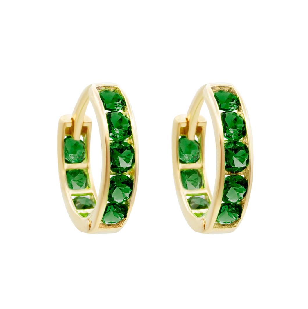 EMERALD GREEN PAVE ETERNITY HOOPS