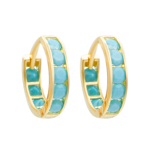 Turquoise Pave Eternity Hoops Sleeper Earrings