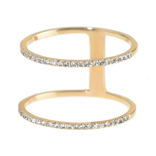 DOUBLE BAND DIAMOND RING, ROSE GOLD
