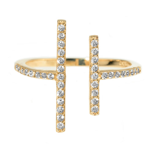 PARALLEL MOVES PAVE GOLD RING