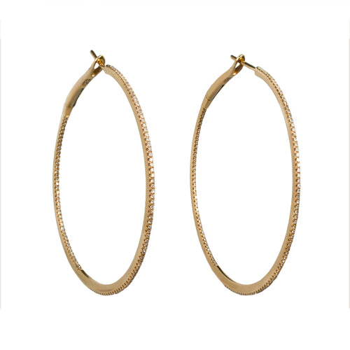 HOOP EARRINGS, YELLOW GOLD WHITE DIAMOND ONLINE EXCLUSIVE