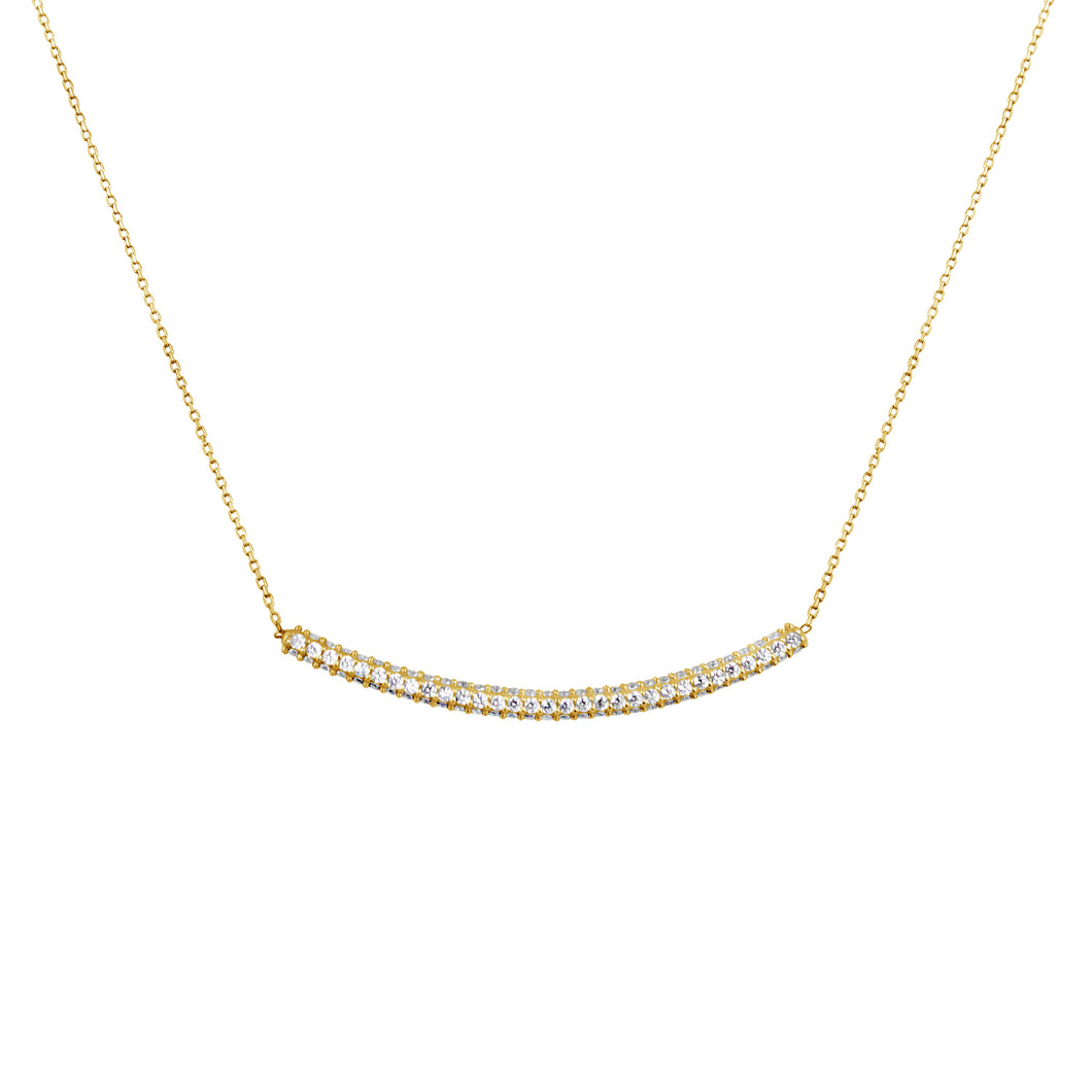 FINISH LINE PAVE BAR NECKLACE 14CT YELLOW GOLD