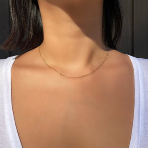 Mini Long Link Paperclip Chain Necklace