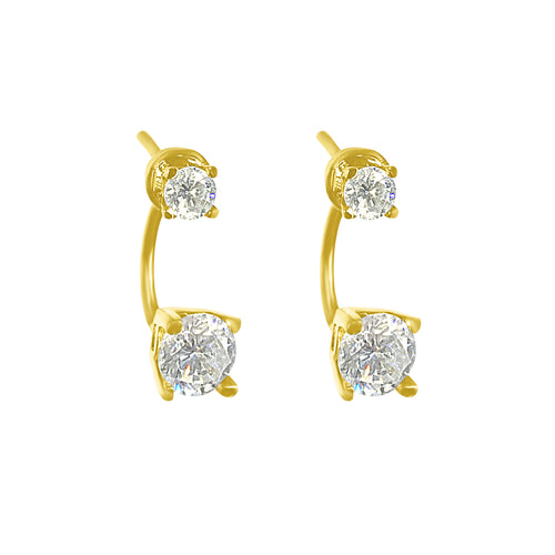 DIAMOND DROP EAR JACKET STUDS