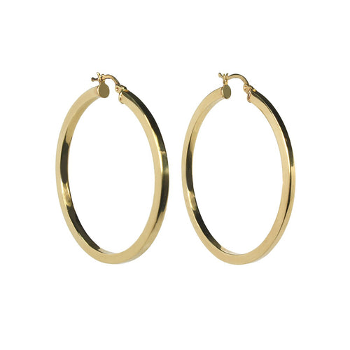 KHALEESI SQUARED HOOPED EARRINGS, GOLD