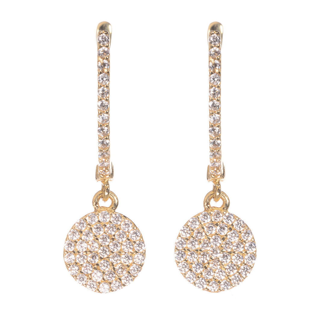 GOLDEN ECLIPSE PAVÉ EARRINGS, YELLOW GOLD