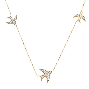 FLY ME TO THE MOON PAVÉ NECKLACE, GOLD