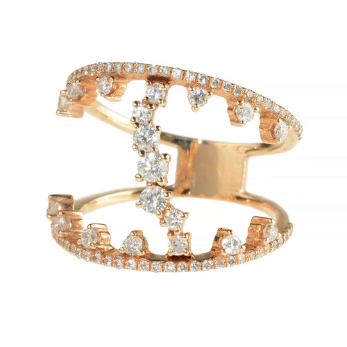 TIARA RING, ROSE GOLD WHITE DIAMOND