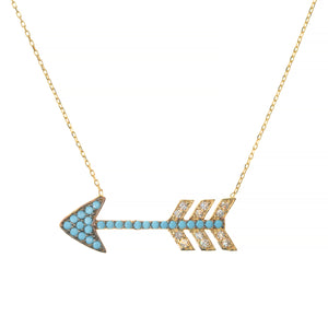 TURQUOISE LOVE ARROW NECKLACE