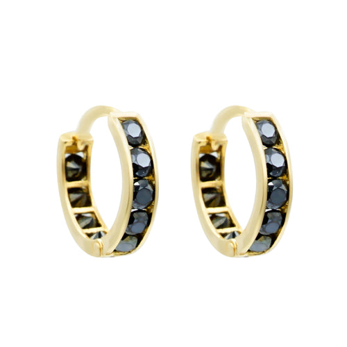Black Pave Eternity Hoops Sleeper Earrings