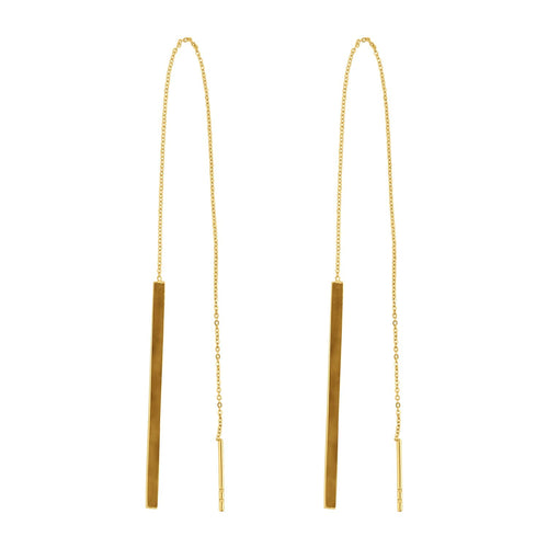 Drop Me A Line Chain Threader Earrings